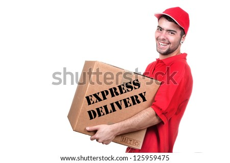 Young delivery man in red uniform holding the box on white background - stock photo