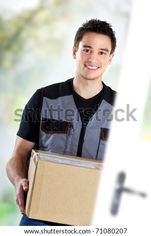 young deliveryman activity - stock photo