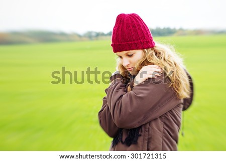 Young, depressive woman - stock photo