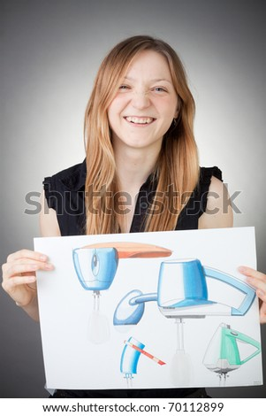 Young Design Engineer Woman Shows a Design Plan, with Grey Background