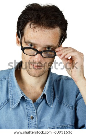 Young disheveled man in glasses isolated on white - stock photo