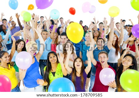 Young Diverse World People Celebrating with Colorful Balloons - stock photo