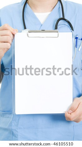 Young doctor hold white board isolate on white - stock photo