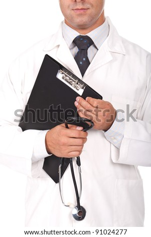 young doctor holding note books and stethoscope - stock photo