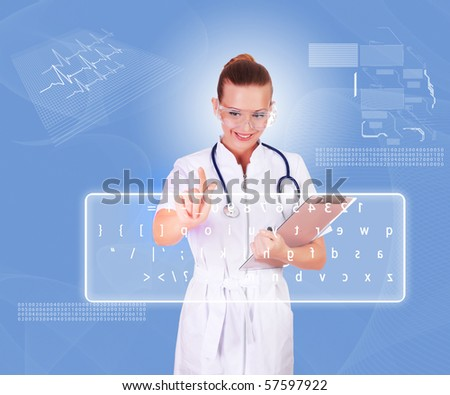 Young doctor in white uniform, transparent glasses and a stethoscope clicks on virtual keyboard. Collage.