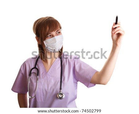 Young doctor is drawing some graphics. isolated on white background - stock photo