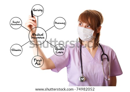 Young doctor is drawing some medical graphics. isolated on white background - stock photo
