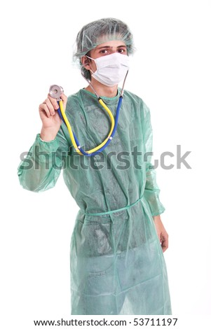 young doctor isolated on white - stock photo