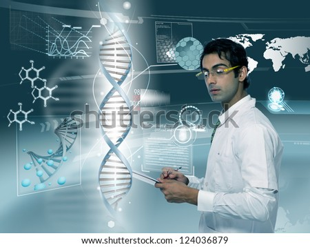 young doctor looking at DNA strand in futuristic background - stock photo