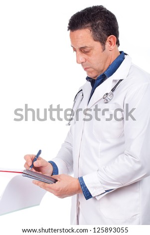 young doctor man with stethoscope and clipboard against different backgrounds - stock photo