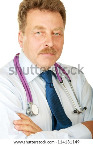 Young doctor man with stethoscope isolated on white background