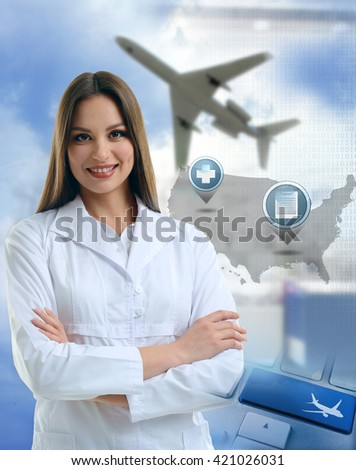 Young doctor on virtual background. Medical tourism concept - stock photo