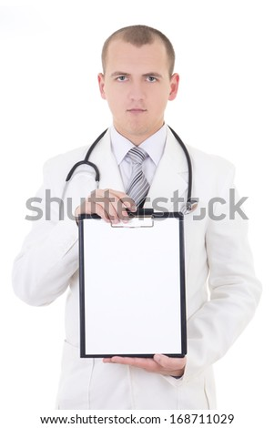 young doctor showing folder with copy space for text isolated on white background - stock photo