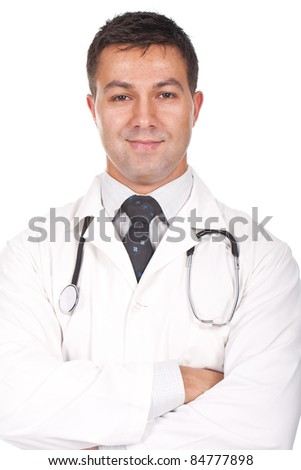young doctor standing with his arms crossed and smiling