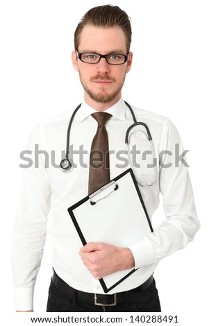 Young doctor wearing a White shirt and Brown tie, with a stethoscope around his neck holding a clipboard. White background. - stock photo