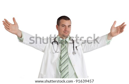 Young doctor with arms open. Isolated on white background. - stock photo