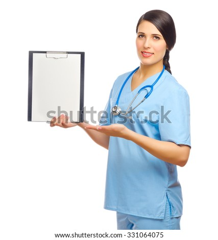 Young doctor with clipboard isolated