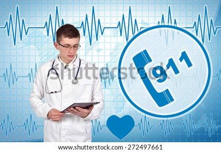 Young doctor with digital tablet, 911 symbol on background - stock photo