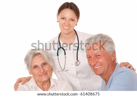 Young doctor with her patients on the white - stock photo