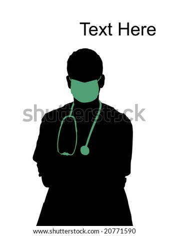 young doctor with mask on his mouth - stock photo