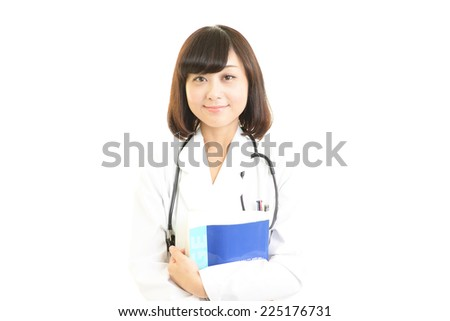 Young doctor woman smile face with stethoscope