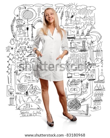 young doctor woman with stethoscope against different backgrounds