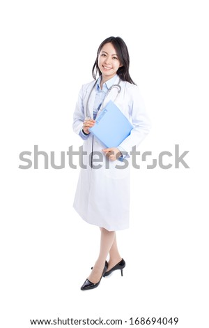 young doctor woman with stethoscope isolated on white background - stock photo