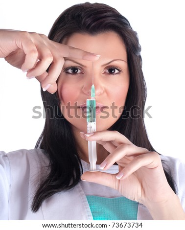Young doctor women holding injection, isolated - stock photo
