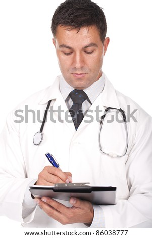 young  doctor writing notes and prescriptions - stock photo