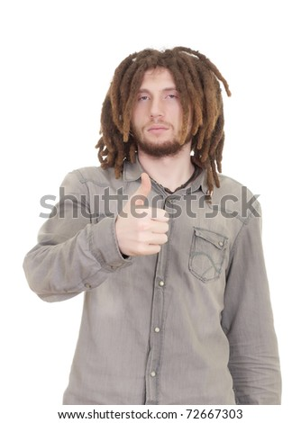 young dreadlock man isolated on white background - stock photo