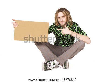young dreadlock man with plate isolated - stock photo
