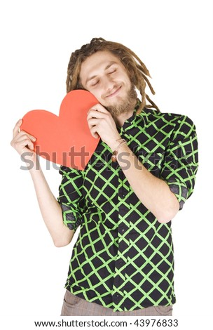 young dreadlock man with red paper heart isolated - stock photo