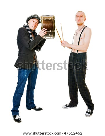 Young drummer isolated on a white background