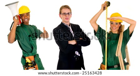 Young dynamic construction team with boss in the middle. Studio shot, white background. - stock photo