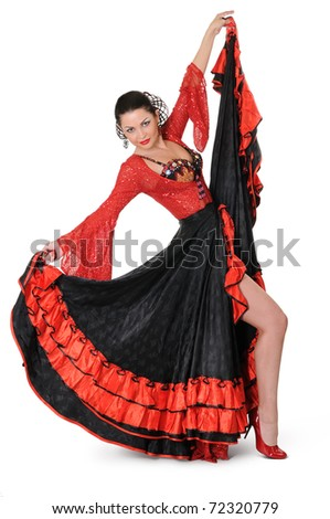 Young elegance flamenco dancer in action on white background - stock photo