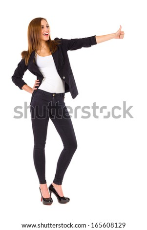 Young elegance student showing thumb up. Full length studio shot isolated on white. - stock photo