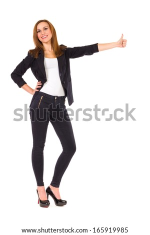 Young elegance student showing thumb up. Full length studio shot isolated on white.