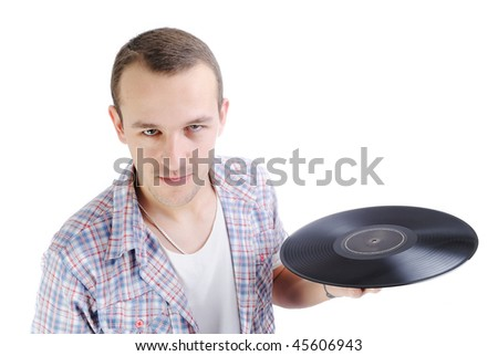Young elegant attractive man with sound disc