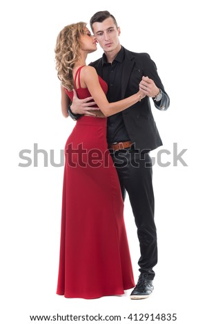 Young elegant couple dancing, isolated on white - stock photo