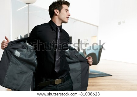 Young elegant male model - stock photo