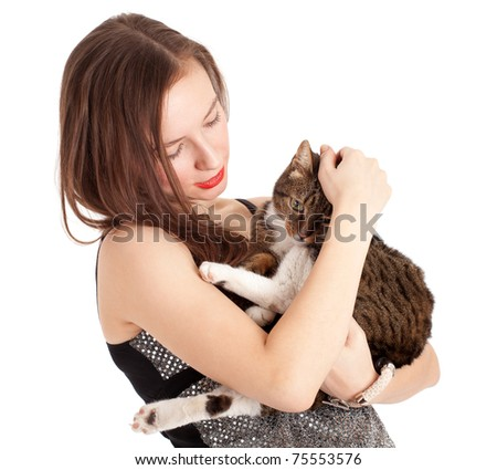 young elegant woman in beautiful dress with grey cat - stock photo