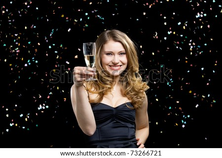 young elegant woman in party and celebration mood - stock photo