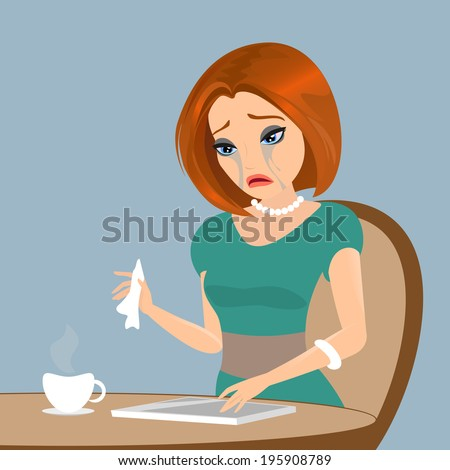 Young elegant woman is crying in the cafe - close up illustration.  - stock photo