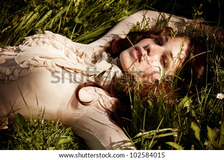 young elegant woman outdoor summer day