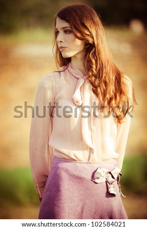 young elegant woman outdoor summer day - stock photo