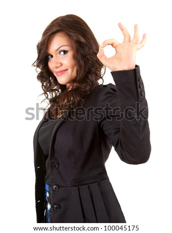 young elegant woman showing ok sign, white background