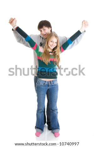Young embracing pair isolated on a white background