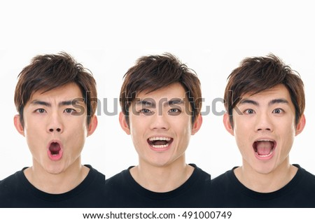 Young emotional man close up portrait, collage, isolated