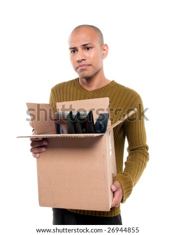 Young employee being laid off because company downsized. - stock photo
