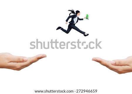 Young employee carrying business graph running rush through hands to chase her aim - stock photo